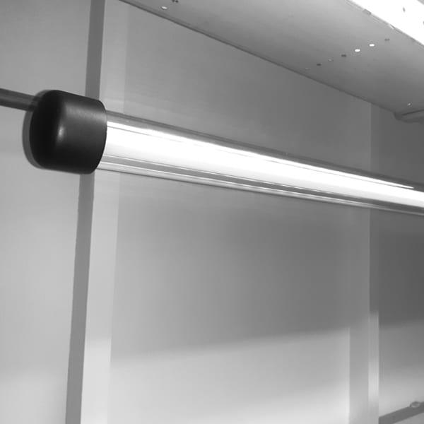 Einddop van een koppelbare design lamp